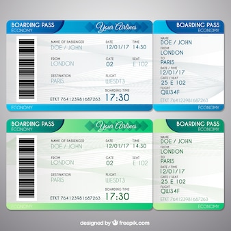 Boarding passes in green and blue tones