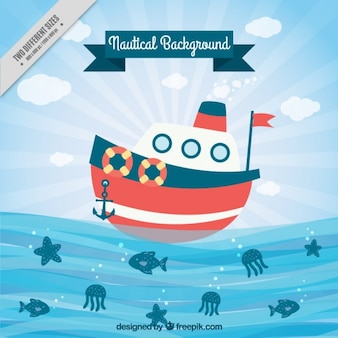 Boat sailing background