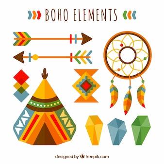 Boho accessories pack in flat design