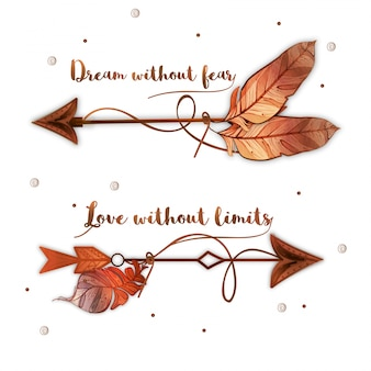 Boho background with arrows and beautiful message
