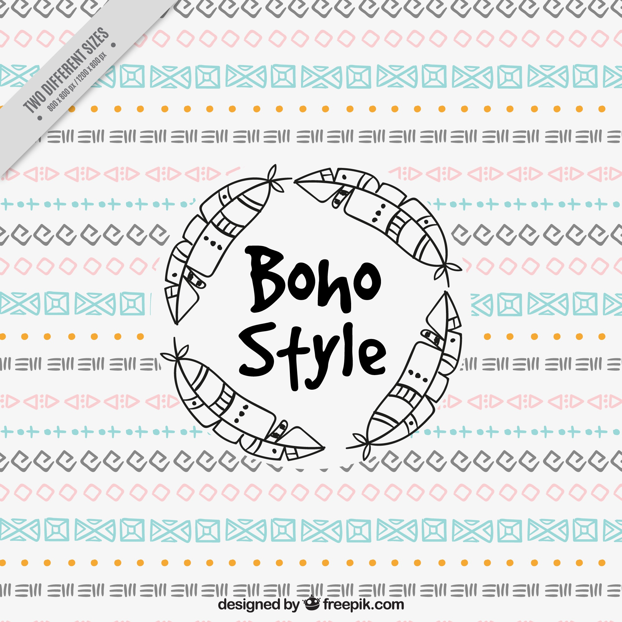 Boho background with geometric drawings