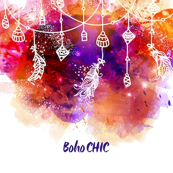 Boho background with ornaments hanging