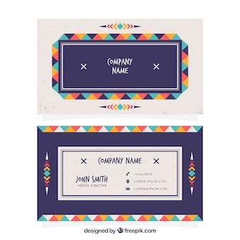 Boho corporate card with colored triangles