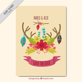 Boho greeting card with floral decoration