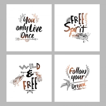 Boho greeting cards with positive messages