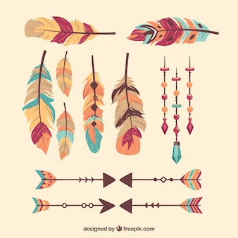 Boho pack of feathers and arrows
