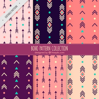Boho patterns of abstract shapes and arrows