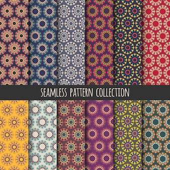 Boho seamless pattern collection. Round geometric decoration background. Abstract colorful wallpaper, backdrop.