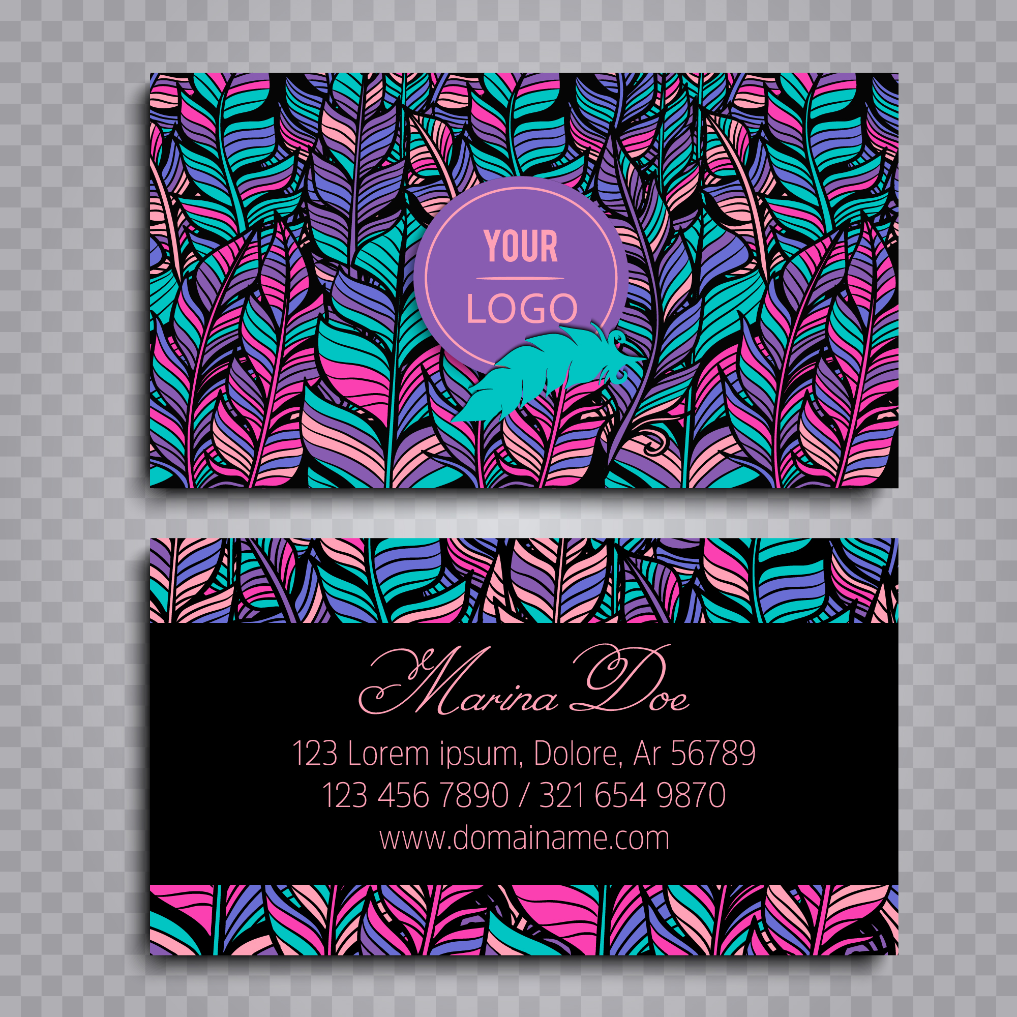 Boho style business card
