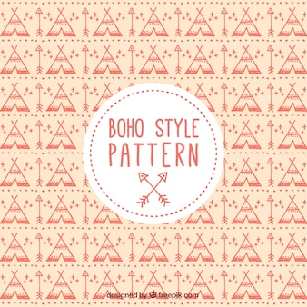 Boho style pattern with tents