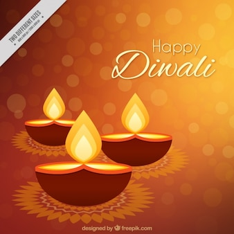 Bokeh background of diwali candle in flat design