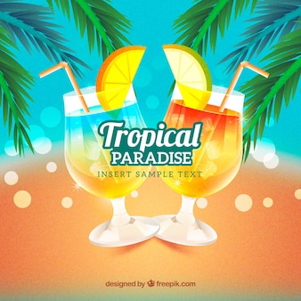 Bokeh background of tropical drinks