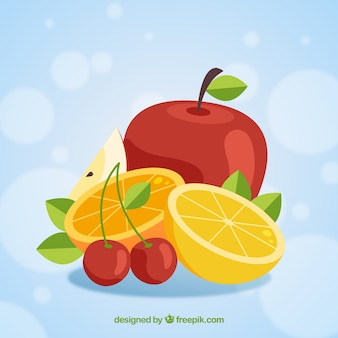 Bokeh background with colored pieces of fruit