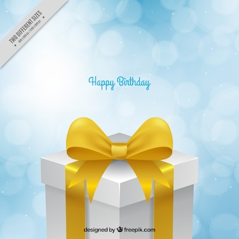 Bokeh background with decorative birthday present
