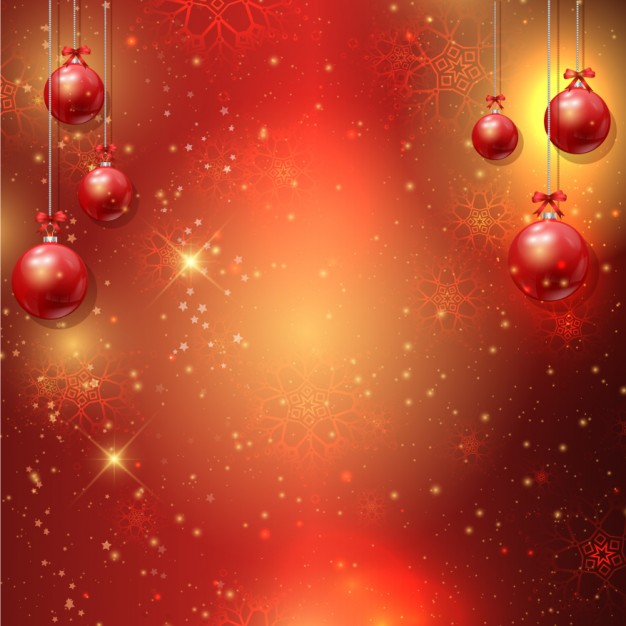 Bokeh background with hanging baubles