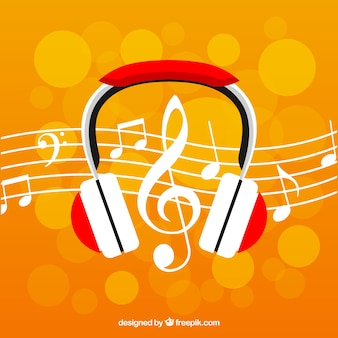 Bokeh background with headphones and musical notes