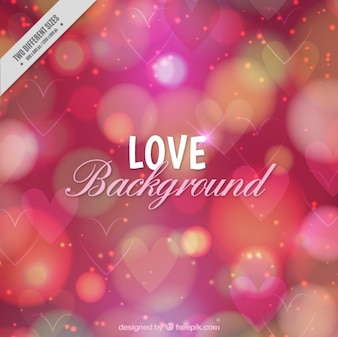 Bokeh background with hearts and circles