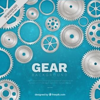 Bokeh background with metallic gears