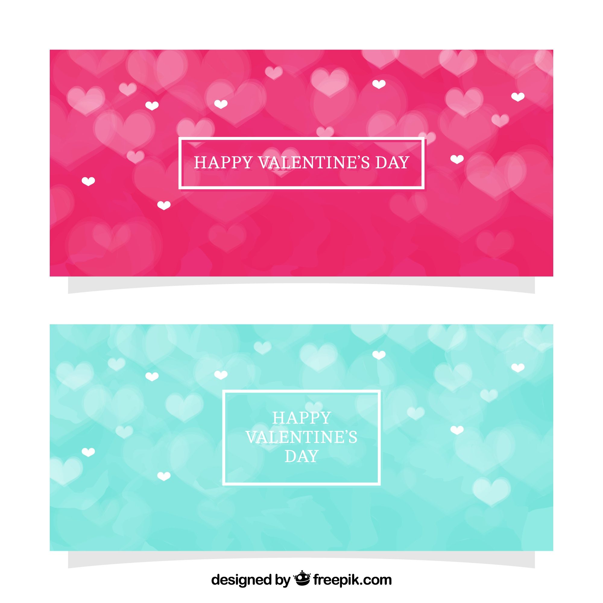 Bokeh banners for valentine's day