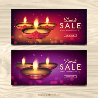 Bokeh banners of diwali sales