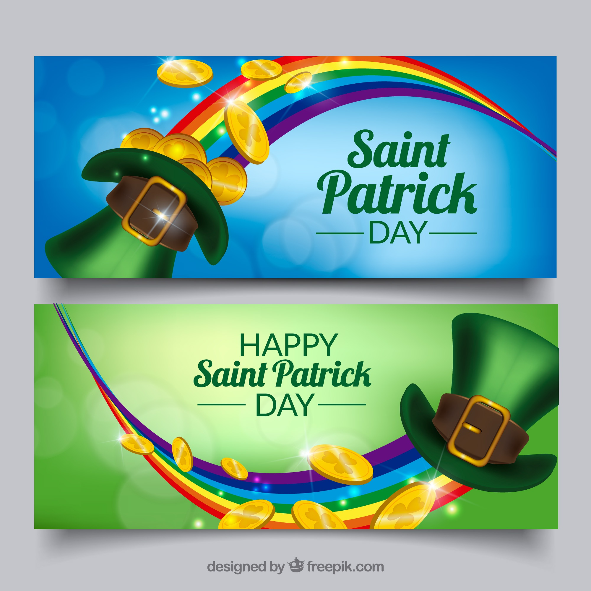 Bokeh banners with rainbow and hat for st patrick's day