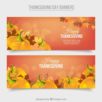 Bokeh banners with thanksgiving pumpkins