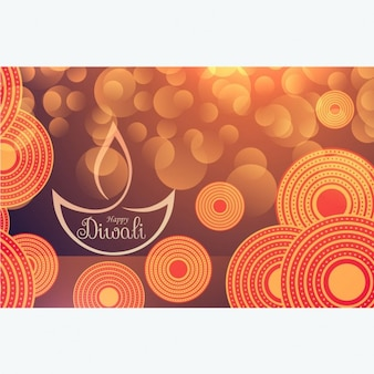 Bokeh diwali background with abstract shapes