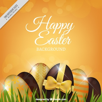 Bokeh easter background with decorative eggs