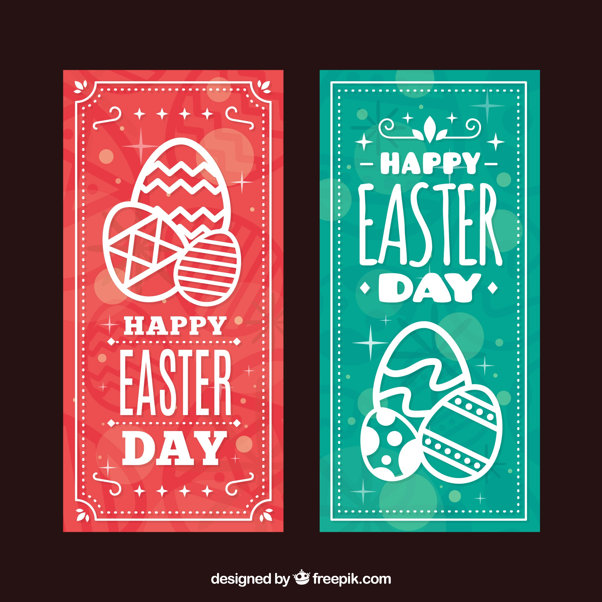 Bokeh easter banners with decorative eggs