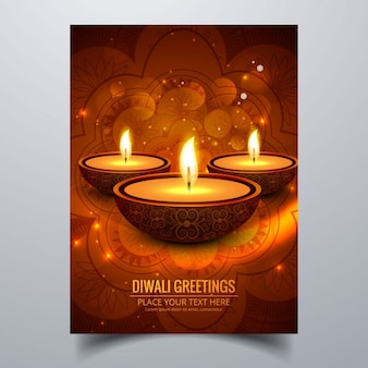 Bokeh golden card of diwali candles