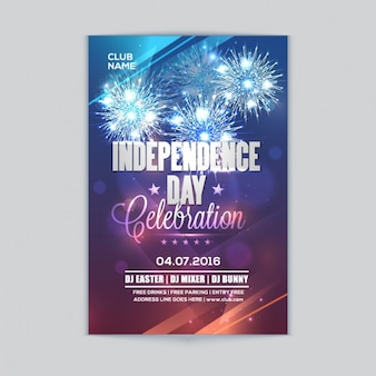 Bokeh leaflet with fireworks for independence day