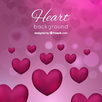 Bokeh pink background with hearts