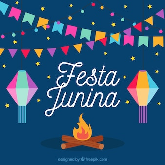 Bonfire background with colorful party decoration junina
