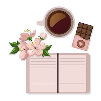Book and coffee background