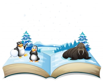 Book cartoon walrus alive frozen