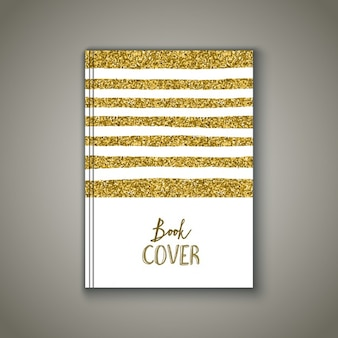 Book cover with a gold glitter design