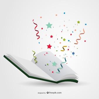 Book with confetti vector