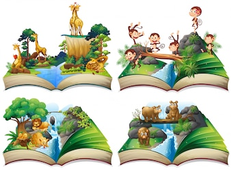 Book with wild animals in the jungle illustration