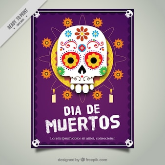 Booklet of mexican skull with flowers and candles