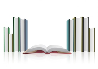Books collection on white background