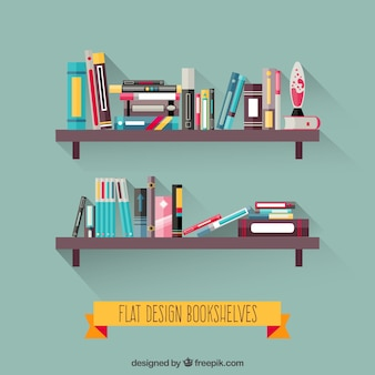 Bookshelves in flat design