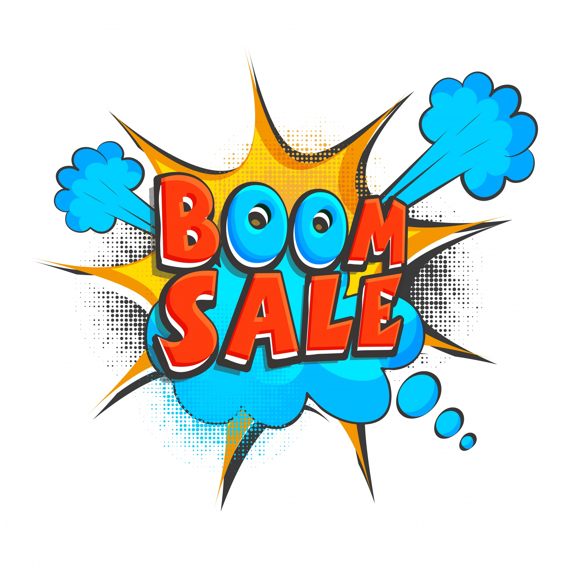 Boom Sale Text on pop art style background.