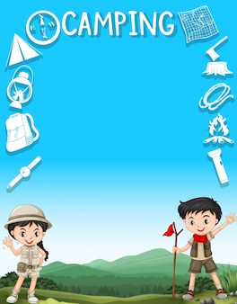 Border design with kids and camping gears illustration