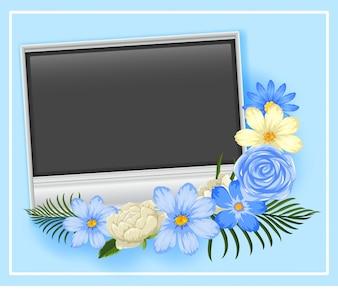 青と白の花のあるボーダーテンプレート
