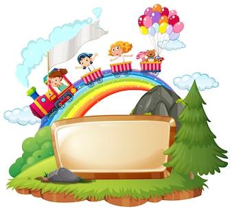 幸せな子供たちと列車のボーダーテンプレート