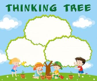 木を植えている子供たちのボーダーテンプレート