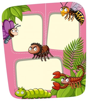 Border template with many insects in garden