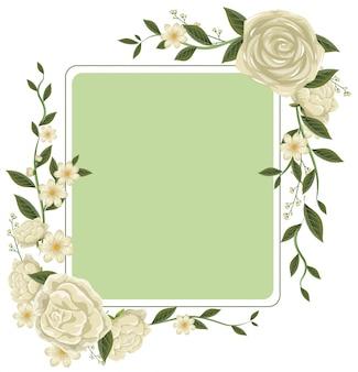 白いバラのボーダーテンプレート