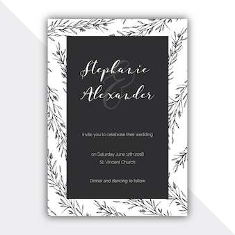 Botanical black and white wedding card