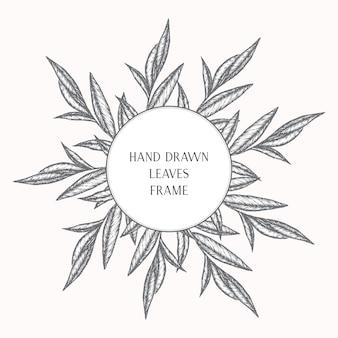 手描きの葉を持つ植物のフレーム